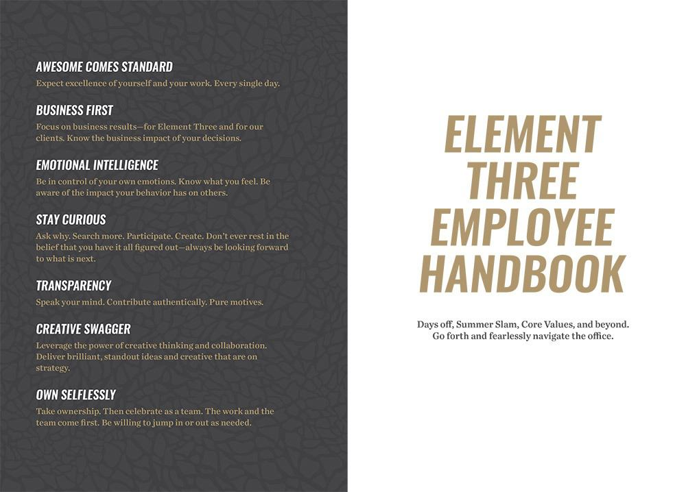 E3 employee handbook with core values listed